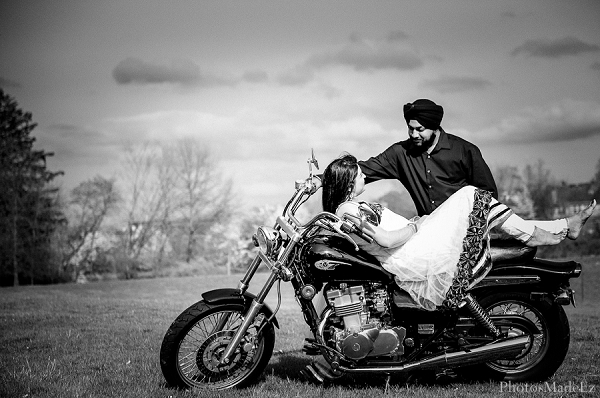 Indian wedding engagement portraits groom motorcycle