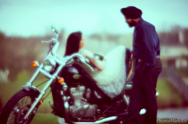Indian wedding engagement session bride groom motorcycle