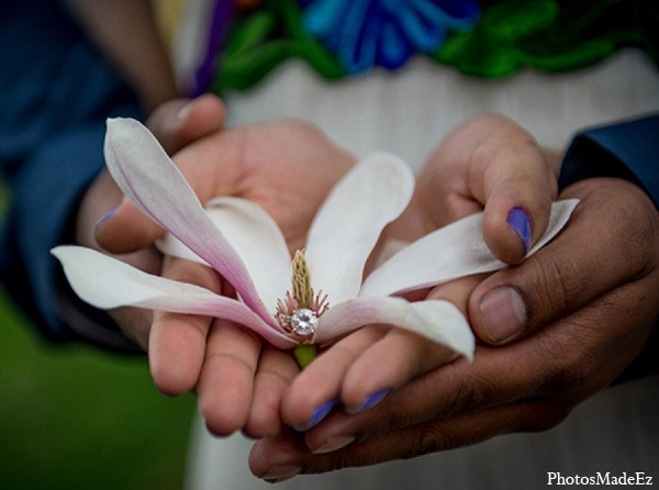Engagement indian wedding hands flower ring in Sunday Sweetheart Winners ~ Pooja & Jassi by PhotosMadeEz