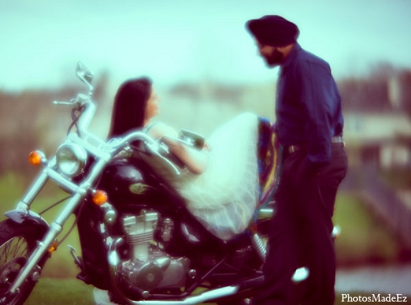 Indian wedding engagement portraits motorcycle in Sunday Sweetheart Winners ~ Pooja & Jassi by PhotosMadeEz