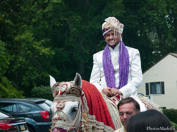 Indian wedding baraat groom in Drexel Hill, PA Indian Wedding by PhotosMadeEz
