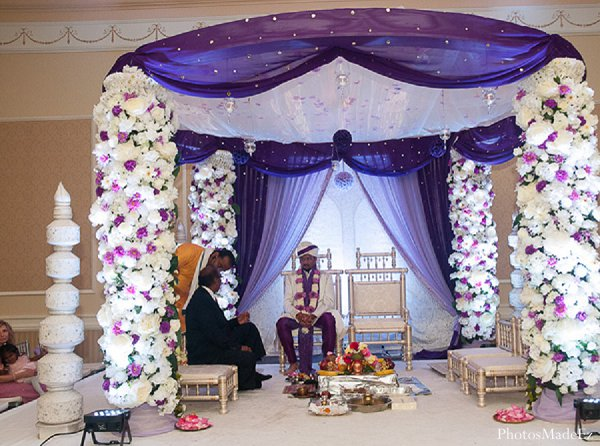 Indian wedding ceremony mandap in Drexel Hill, PA Indian Wedding by PhotosMadeEz