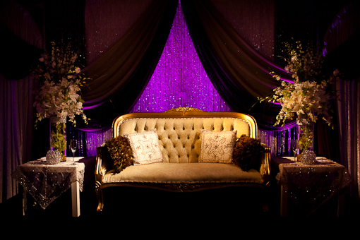 gold purple wedding table
