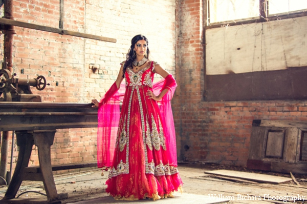 Indian wedding traditional bride in Red Paisleys Bridal Fashions Inspiration