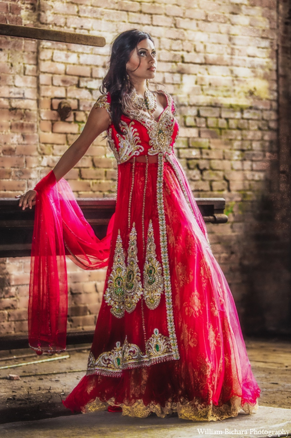 Indian wedding traditional lengha in Red Paisleys Bridal Fashions Inspiration
