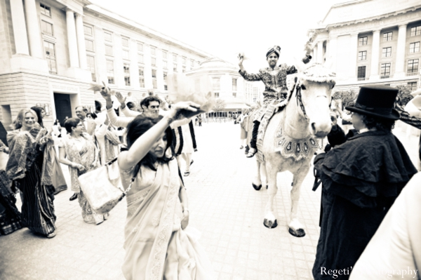 Indian wedding baraat groom black white
