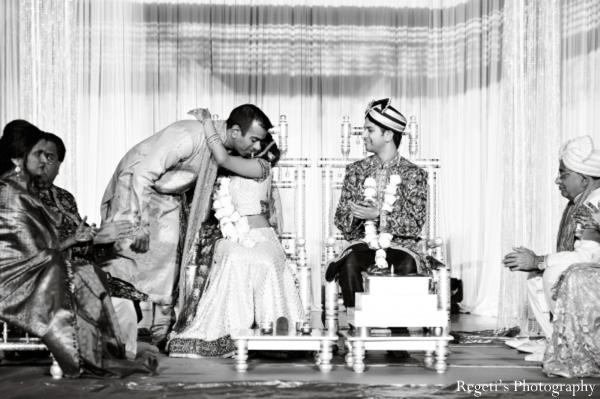 Indian wedding ceremony black white bride groom