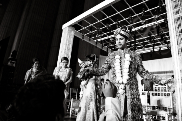 Indian wedding ceremony bride groom black white