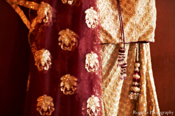 Indian wedding getting ready bride lengha detail
