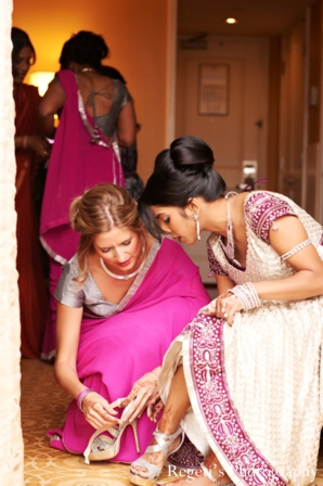 Indian wedding getting ready bride lengha