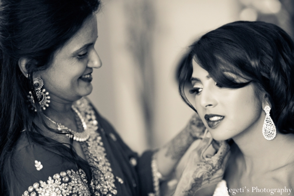 Indian wedding getting ready reception bride black white