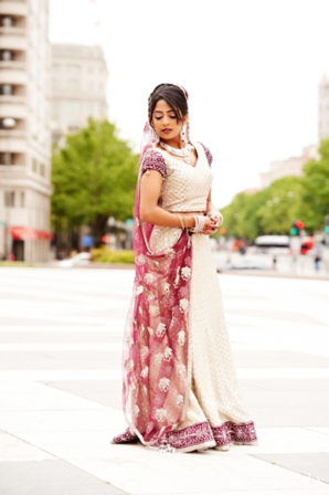 Indian wedding portrait bride traditional lengha