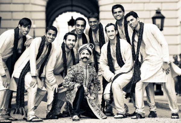 Indian wedding portrait groom groomsmen black white