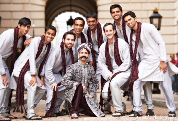Indian wedding portrait groom groomsmen