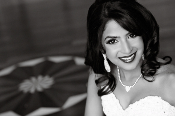 Indian wedding portrait reception bride black white