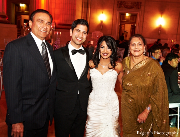 Indian wedding reception bride groom family