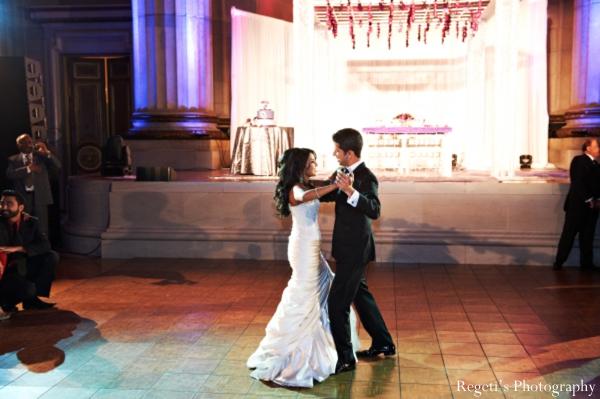 Indian wedding reception dancing lighting bride groom