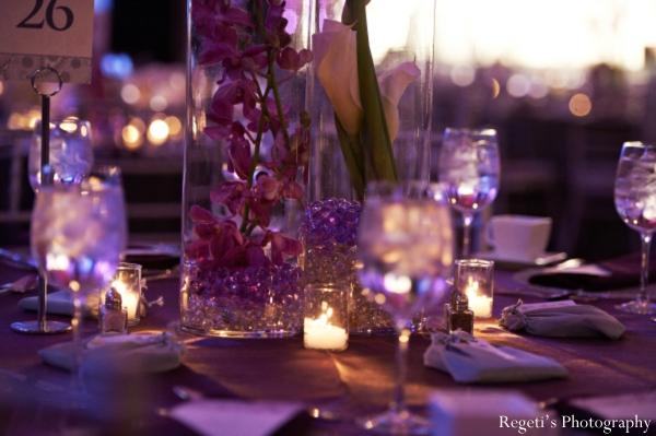 Indian wedding reception decor detail lighting