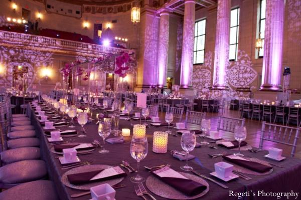 Indian wedding reception decor lighting