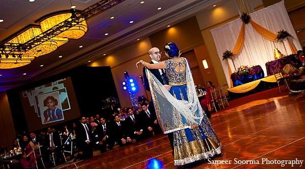 Indian reception bride outfit groom in Phoenix, Arizona Indian Wedding by Sameer Soorma Photography