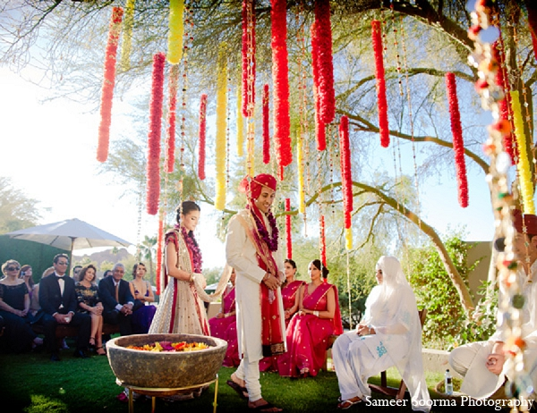 Indian wedding bride groom ceremony outdoor in Phoenix, Arizona Indian Wedding by Sameer Soorma Photography