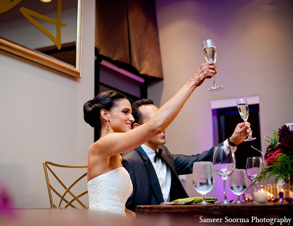 Indian wedding reception bride groom toast in Phoenix, Arizona Indian Wedding by Sameer Soorma Photography