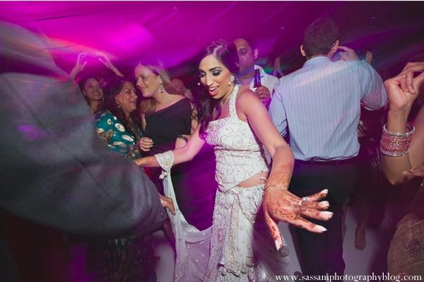 Indian-wedding-reception-guests-dancing-bride