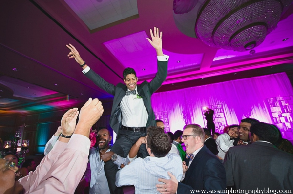 Indian-wedding-reception-guests-dancing-groom