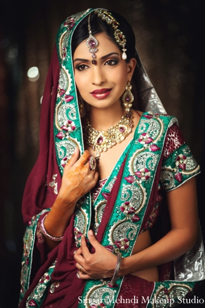 Indian wedding bridal portrait colorful