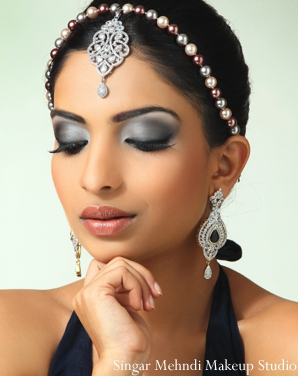 Indian wedding tikka eye shadow earrings