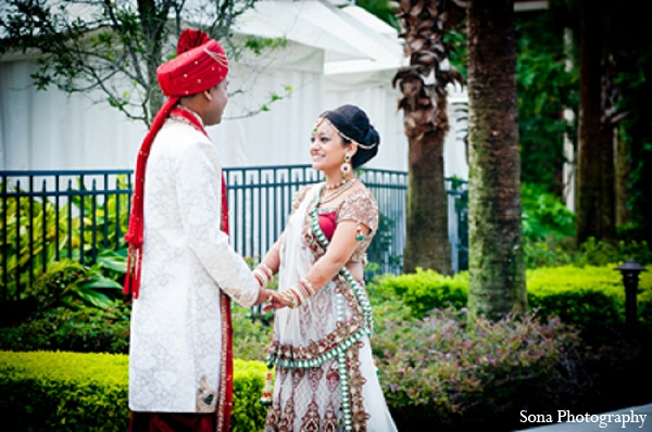 Indian wedding bride groom first look in Orlando, FL Indian Wedding by Sona Photography