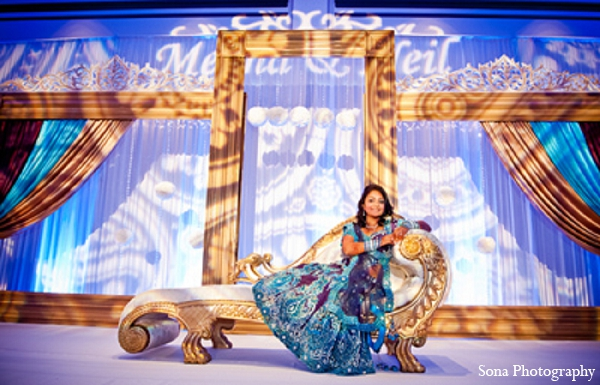 Indian wedding reception bride decor in Orlando, FL Indian Wedding by Sona Photography