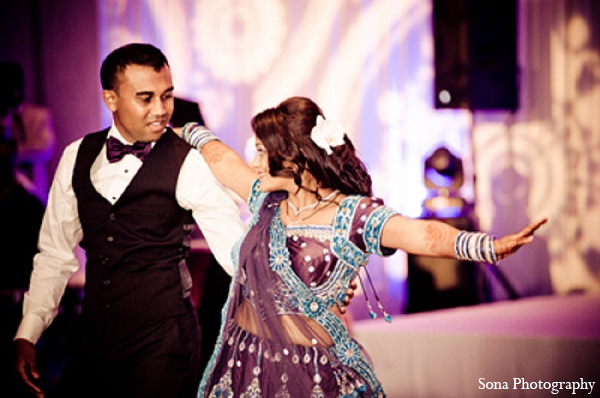 Indian wedding reception bride groom dance in Orlando, FL Indian Wedding by Sona Photography
