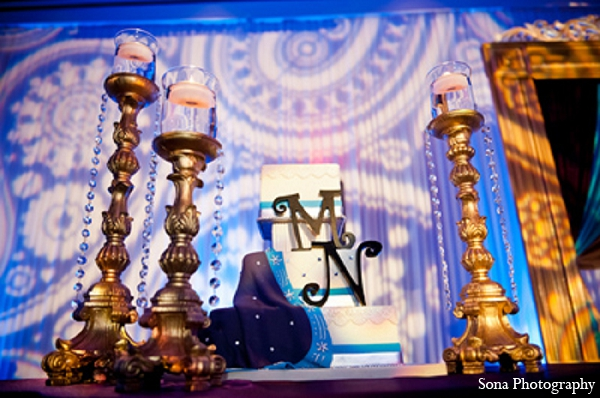 Indian wedding reception cake lighting decor in Orlando, FL Indian Wedding by Sona Photography