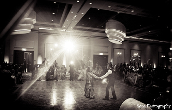 Indian wedding reception first dance bride groom in Orlando, FL Indian Wedding by Sona Photography
