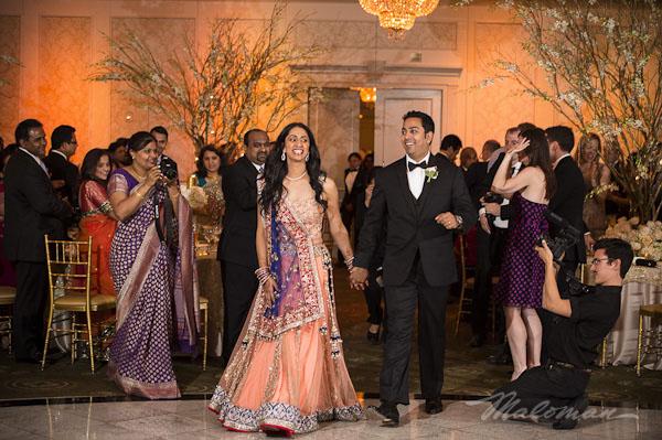 Indianweddingtraditonalbrideandgroomreceptionentrance