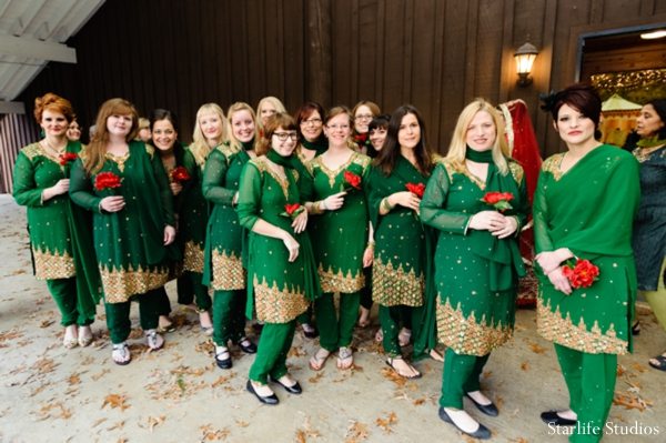 Indian wedding bridal party green outfits in Memphis, TN Indian Wedding by Starlife Studios