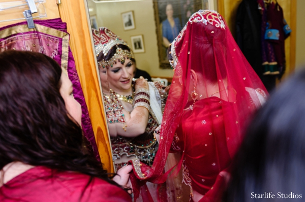 Indian wedding bride getting ready in Memphis, TN Indian Wedding by Starlife Studios