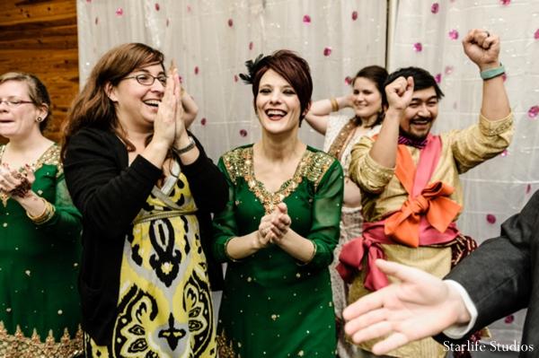 Indian wedding bridesmaids green saris in Memphis, TN Indian Wedding by Starlife Studios