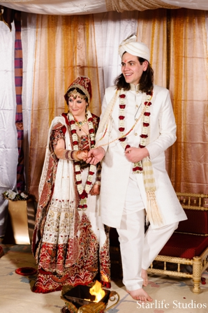 indian wedding ceremony bride groom sherwani lengha