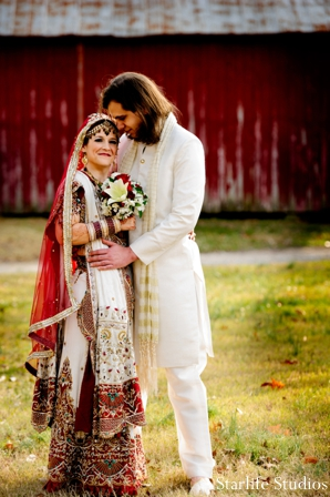 indian wedding couple portrait outdoors