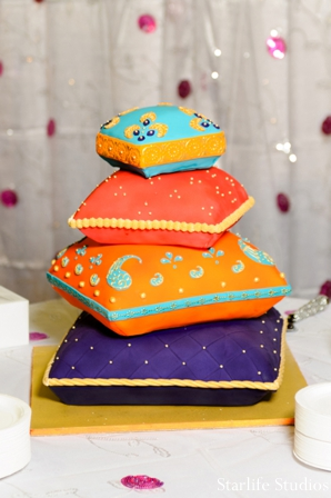 Indian wedding reception cake colorful in Memphis, TN Indian Wedding by Starlife Studios