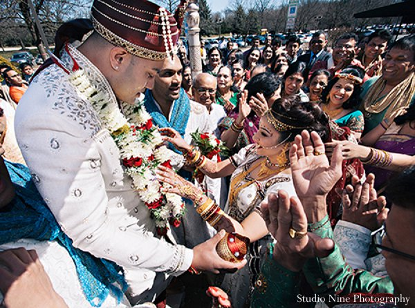 Indian wedding baraat bride groom in Parsippany, NJ Indian Wedding by Studio Nine Photography + Cinema