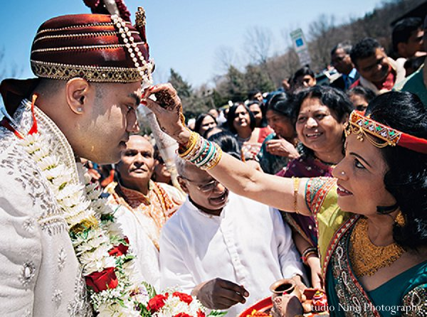 Indian wedding baraat groom in Parsippany, NJ Indian Wedding by Studio Nine Photography + Cinema