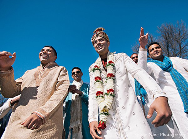 Indian wedding groom sherwani baraat in Parsippany, NJ Indian Wedding by Studio Nine Photography + Cinema