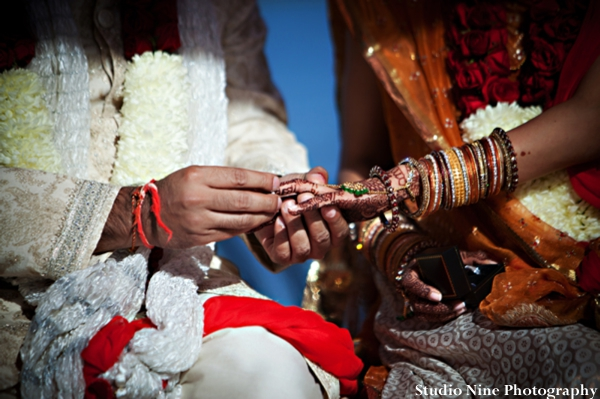 Indian-wedding-ceremony-ring-exchange-bride-groom