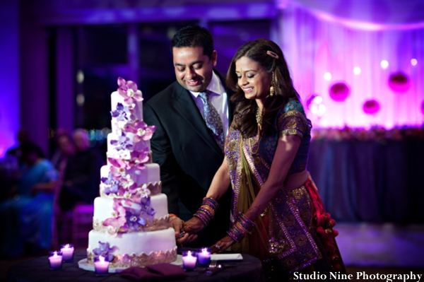 Indian-wedding-reception-cake-cutting-bride-groom