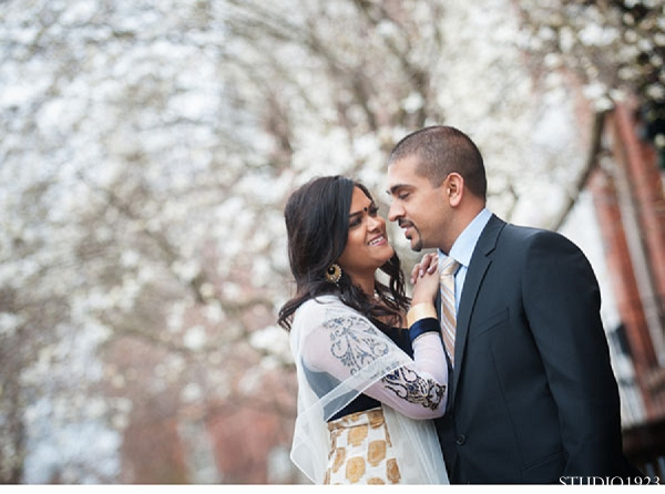 Indian wedding engagement portraits groom bride in Sunday Sweetheart Winners  ~ Kavita & Samit by STUDIO1923