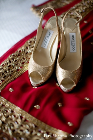 Indian bridal shoes gold fashion in Jersey City, New Jersey Indian Wedding by Tara Sharma Photography