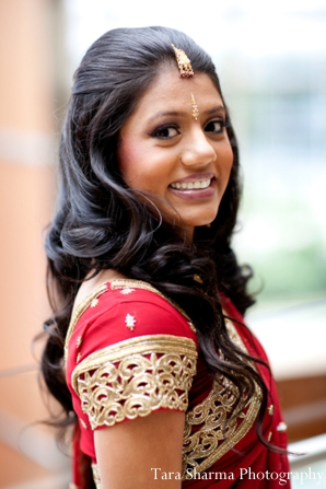 Indian wedding bridal traditional dress portrait in Jersey City, New Jersey Indian Wedding by Tara Sharma Photography